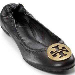 Tory Burch Reva Black Leather Gold Emblem Size 9.5
